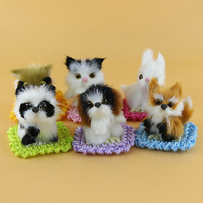6pcs/set Simulation Cats Squirrel Fox Owl Dog Rabbit Animal Plush Toy Home Decor