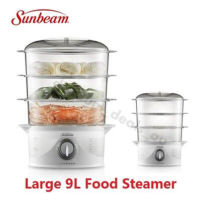 Sunbeam Electric Food Steamer Cooker Fish Vegetable Large 9L Egg Rice Cook Bowl
