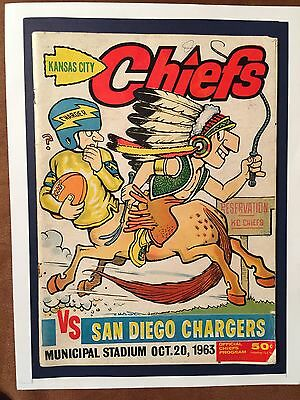 """1963 K.C.CHIEFS vs S.D.Chargers Football Program/FAB """"CHASE""""CHIEF RIDING CHARGER"""