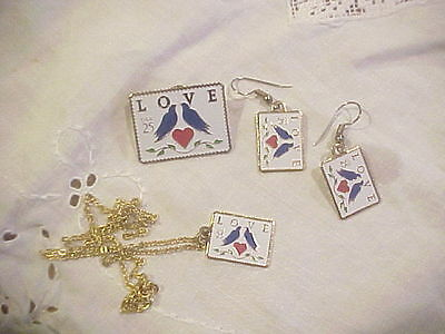 LOVE Stamp Enamel Pin Necklace and Earring Set Vintage 25 cent