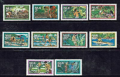 Niue  1976  Food Gathering  Set Of 10  Muh