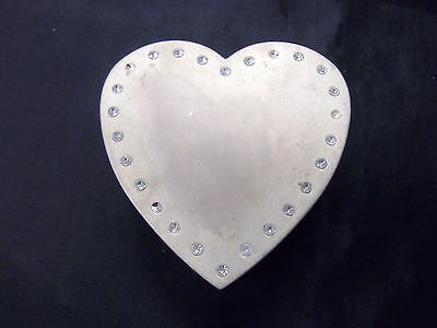 """Vintage Jeweled Metal Heart Shaped Box 4"""" Matte Finish For Valentine's Day Gift"""