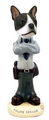 Boston Terrier Police Officer Hand Painted Collectible Resin Figurine Statue
