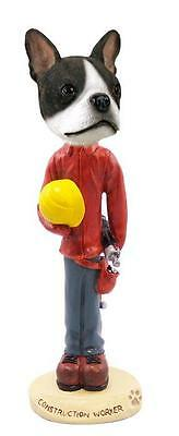 Boston Terrier Construction Worker Hand Painted Collectible Figurine Statue