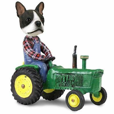 Boston Terrier on a Tractor Hand Painted Collectible Resin Figurine Statue
