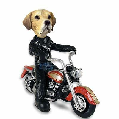 Yellow Labrador on a Motorcycle Hand Painted Collectible Resin Figurine Statue