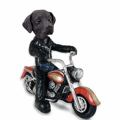 Black Labrador on a Motorcycle Hand Painted Collectible Resin Figurine Statue