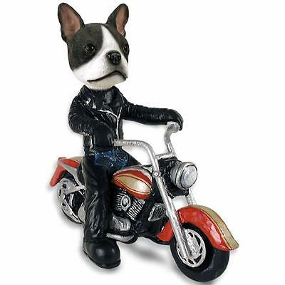 Boston Terrier Riding a Motorcycle Collectible Resin Figurine
