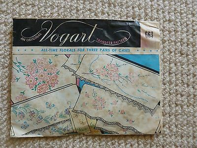 Vintage Vogart Transfer Pattern No 663 - All Time Florals For 3 Pairs Of Cases