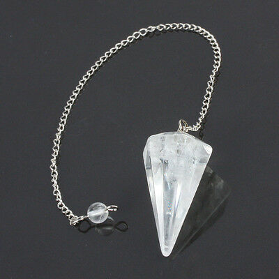 Rock Crystal Quartz Gemstone Healing Dowsing Reiki Point Stone Pendulum & Chain