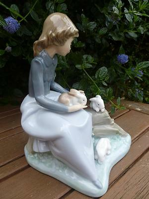 Nao By Lladro Girl Sitting With Rabbits Excellent Condition