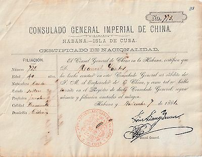 Colonial Spain 1884 Chinese Nationality Certificate,Red Chinese Consular Seal