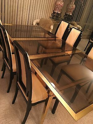 Mid Century Modern Vintage Brass Extension Dining Table w/Smoke Glass