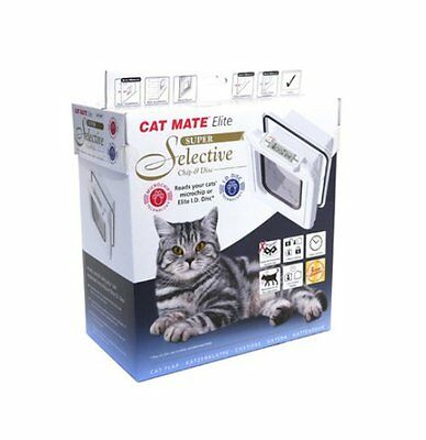 Elite I.D. Disc Cat Flap in White New Weather Resistant Automatic Cat Pet Door
