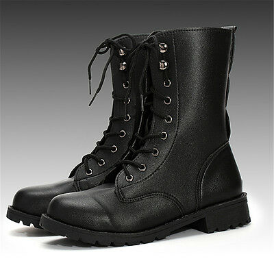 AU Post Women's Mid Calf PU Leather Martin Gothic Boots Lace Up Military Shoes