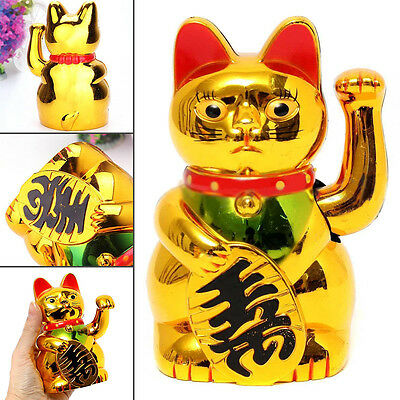 "5''/6"" Chinese Lucky Cat Beckoning Cat Waving Moving Arm Wealth Maneki Neko Gold"