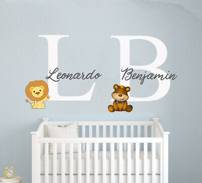 Twins Custom Name &  Initial  Lion Bear Wall Decal Sticker For Kids Bedroom