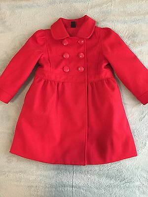 Baby Gap Size 3 EUC Red Toddler Girl Coat Double Breasted Button Pockets