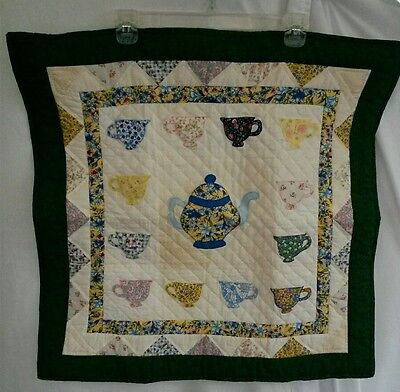 "Handmade Quilt Table Topper Wall Hanging Teapot Tea Cup Dyed Floral  24"" by 25"""