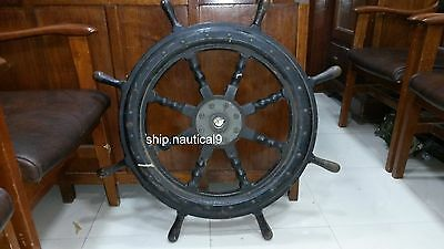 Original Rare Vintage Marine Ship Wooden Stearing Wheel In Good Condition 1Pcs