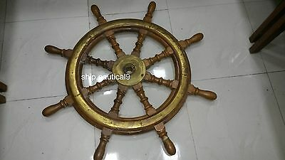 New Antique Marine Ship Wooden Stearing Wheel In Very Good Condition 1Pcs