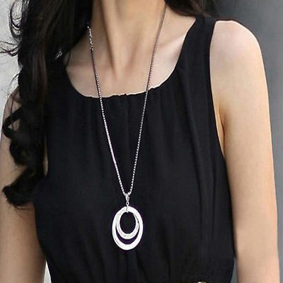 Fashion Women  Crystal Rhinestone Silver Plated Long Chain Pendant Necklace Gift