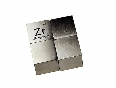 Zirconium Metal 10mm Density Cube 99.2% Pure for Element Collection