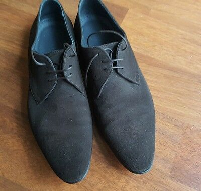 HUGO BOSS mens casual shoes US 8 UK 7 DARK BROWN LACE UP EC SUEDE LEATHER