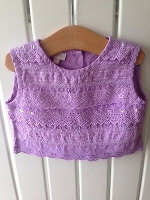 Baby Girls Clothes 12-18 Months - Purple Linen Pretty Detail Top By MONSOON