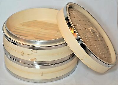 "Bamboo Steamer Set 8"" 20cm with Stainless Steel Rings 3pc Authentic Hand-made"
