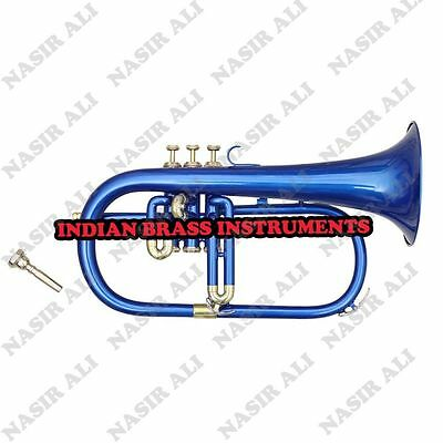 IBI FLUGEL HORN Bb PITCH BLUE + NICKEL WITH FREE HARD CASE + MOUTHPIECE
