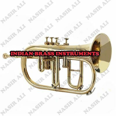 IBI FLUGEL HORN Bb PITCH BRASS 4 VALVE WITH FREE HARD CASE + MOUTHPIECE