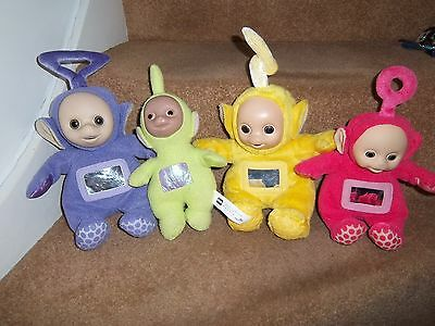 Set 4 Teletubbies Soft Toys Tinky Winky Dispy Lala Po Wl Tomy Chime Rattle