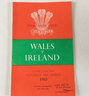 WALES v IRELAND 1955 OFFICIAL  PROGRAMME EXCELLENT CONDITION.