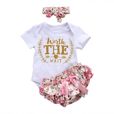 Newborn Infant Baby Girl Romper Bodysuit Jumpsuit Outfit Sunsuit Clothes 3pcs US
