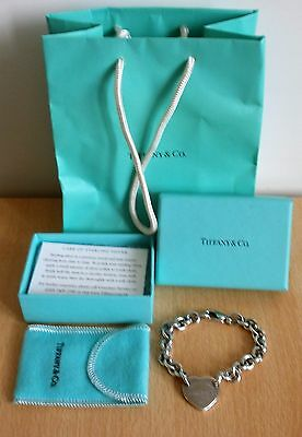 "GENUINE Tiffany & Co. RETURN TO TIFFANY SILVER 925 heart tag bracelet 7.5"" BOXED"
