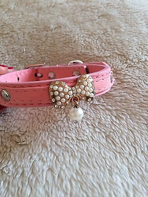Pink Pearl Bow Dog Collar Necklace Chihuahua Puppy Cat XS