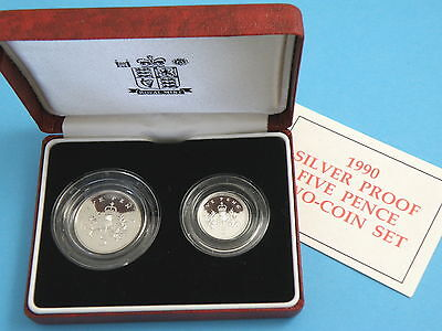 1990 Royal Mint - SILVER PROOF TWO FIVE PENCE COIN SET - Presentation Box + CoA