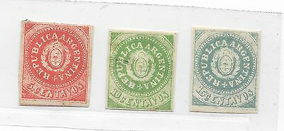 1862 Argentina Stamps Coat Of Arms 5 / 10 & 15 Cents