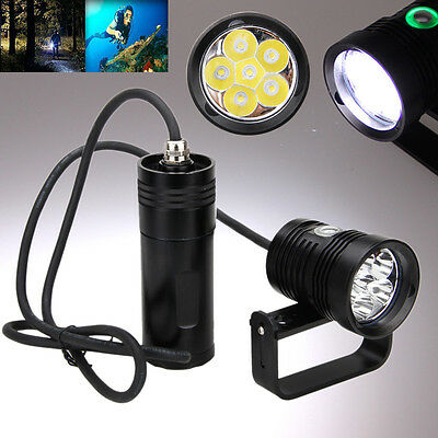 Underwater 150m 10000lm 6x XM-L2 LED SCUBA Diving Flashlight Torch Light+Bracket