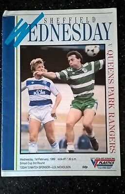 Sheffield Wednesday v Queens Park Rangers Programme - Simod Cup 3rd Round