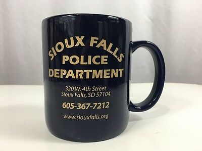 Sioux Falls Police Department Coffee Tea Coco Mug Cup Blue & Gold