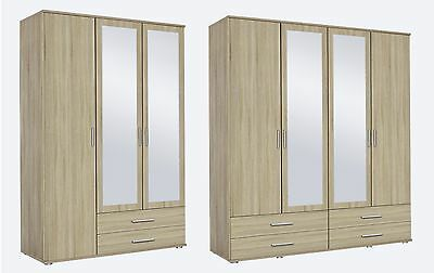 Rauch 'Rasant' 3 or 4 Door Wardrobe, Sonoma Oak. German Bedroom Furniture.