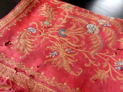 Superrare 1800 Cashmere Shawl Red With Gold/blue Flowers Historical Document
