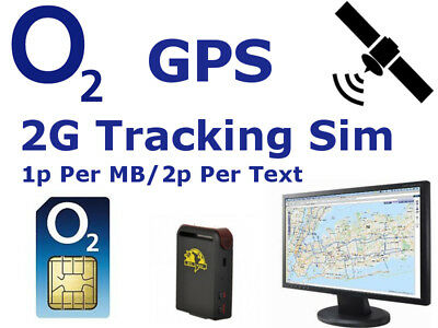 2G Sim Card for GPS Tracker Tracking GSM Devices 5p per Text/5p per MB O2 PAYG