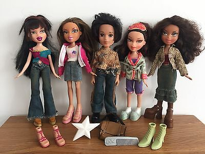 Bundle Of 5 Dressed Bratz Boy & Girl Dolls - With Clothes & Extra Shoes & Bag