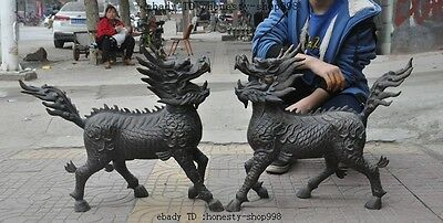 Old Chinese Bronze Fengshui Dragon Kylin Unicorn Kirin Chi-Lin Beast Statue Pair