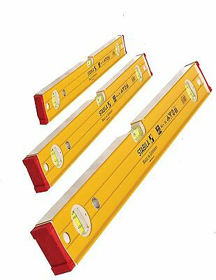 Stabila Double Plumb Ribbed/Bricklayer Spirit Levels 60,120,180cm & 3pcs Set