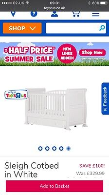 Sleigh Cot Bed In White