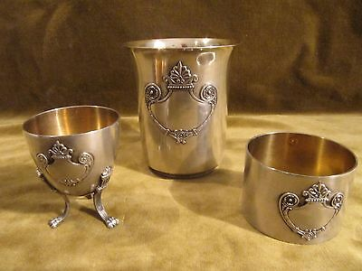Gorgeous 1900 french sterling silver 950 baby gift set (3p) Empire st Debain